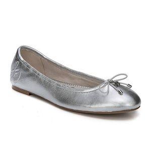 Sam Edelman Felicia Silver Leather Ballet Flats